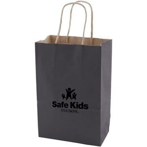 "Charcoal Solid Tinted Kraft Shopping Bags (5.25""x3.25""x8.375"")"