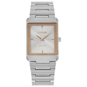 Citizen Stiletto Tank Unisex Small Rose Gold Two-Tone Watch w/Silver Dial