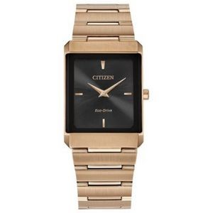 Citizen Stiletto Tank Unisex Large Rose Gold-Tone Watch w/Black Dial