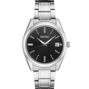 Seiko Men's Silver-tone Watch with Black Dial