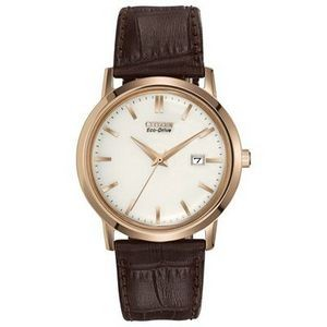 Citizen Men's Corso Eco-Drive Brown Leather Watch w/Rose Gold-Tone Case