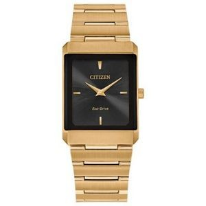 Citizen Stiletto Tank Unisex Small Gold-Tone Watch w/Black Dial