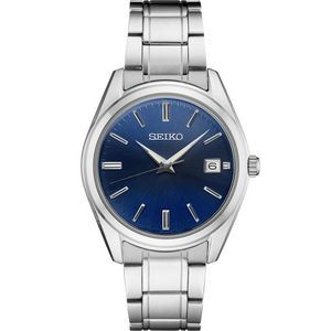 Seiko Men's Silver-tone Watch with Blue Dial