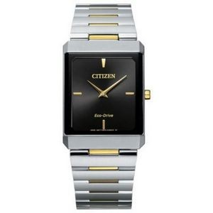 Citizen Stiletto Tank Unisex Large Two-Tone Watch w/Black Dial