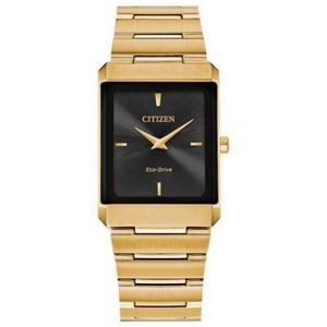 Citizen Stiletto Tank Unisex Large Gold-Tone Watch w/Black Dial