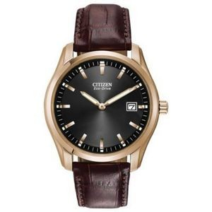 Citizen Men's Corso Eco-Drive Black Watch with Brown Leather Strap