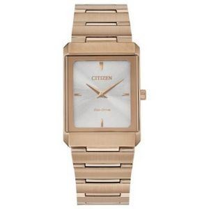 Citizen Stiletto Tank Unisex Small Rose Gold-Tone Watch w/Silver Dial