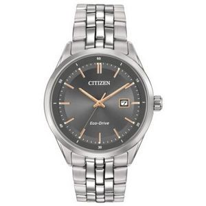 Citizen Men's Corso Eco-Drive Stainless Steel Watch w/Rose Gold Accents & Gray Dial
