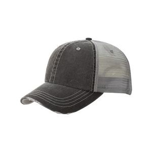 Unstructured Herringbone Cotton Twill/Mesh Cap