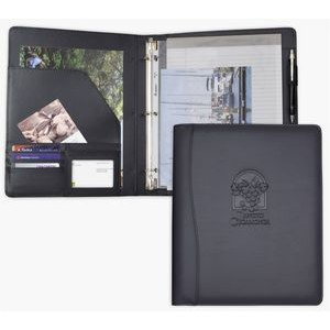 "Letter Size Ring binder/Padfolio, 1"" Ring Binder, Black soft simulated leather"