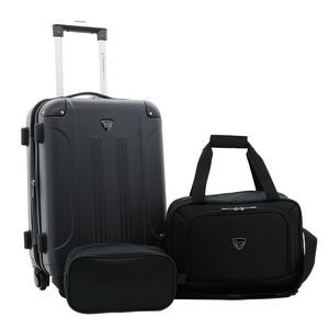 3PC HARDSIDE ROLLING CARRY-ON w/MATCHING TOTE AND SHAVING KIT (SPINNER WHEELS)