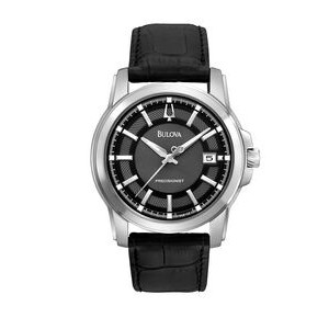 Bulova Men's Precisionist Watch W/ Leather Strap & Black Patterned Dial