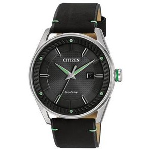 Citizen Men's Drive Eco-Drive Watch, Black Strap and Black Dial with Green Accents