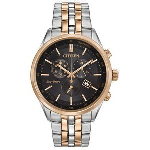 Citizen Men's Corso Chronograph Eco-Drive Watch, Rose Gold Two-Tone with Black Dial