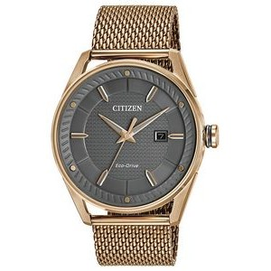 Citizen Men's Drive CTO Eco-Drive Watch, Rose Gold-tone Mesh Bracelet with Grey Dial