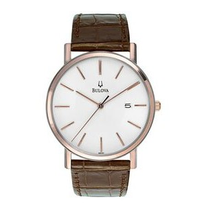 Bulova Men's Dress Watch with Brown Leather Strap & Pearlized Dial