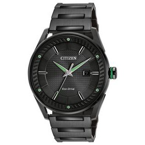 Citizen Men's Drive CTO Eco-Drive Watch, Black SS with Black Dial and Green Accents