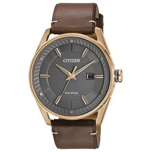Citizen Men's Drive Eco-Drive Watch, Rose Gold-tone SS case, Brown Strap and Dark Grey Dial