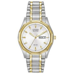Citizen Men's Eco-Drive Silhouette Sport Watch, Two-tone Stainless Steel with White Dial