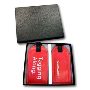 Custom Genuine Leather 4-Color Luggage Tag Gift Set (4-Color 2 Sides)