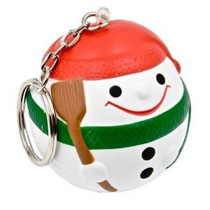 Snowman Ball Key Chain Stress Reliever Squeeze Toy