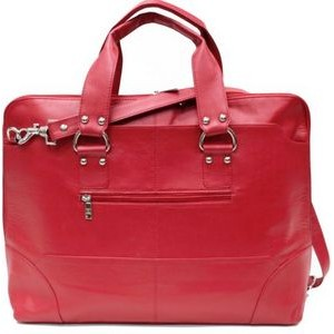 Ashlin® Designer Kellin Ladies Fire Engine Red Pebbled Cowhide Leather Zippered Briefcase