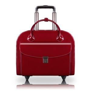 "GRANVILLE | 15"" Red Leather Wheeled Laptop Case 