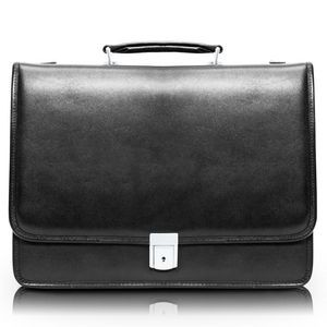"RIVER NORTH | 15"" Black Leather Triple-Compartment Laptop Briefcase 