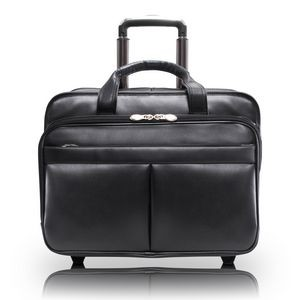 "BOWERY | 15"" Black Leather Wheeled Laptop Briefcase 