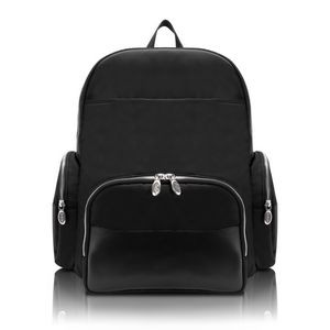 "CUMBERLAND | 17"" Black Nylon Dual-Compartment Laptop Backpack 