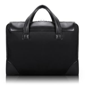 "HARPSWELL | 17"" Black Nylon Dual-Compartment Laptop Briefcase 
