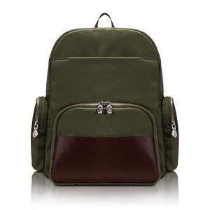 "CUMBERLAND | 17"" Green Nylon Dual-Compartment Laptop Backpack 