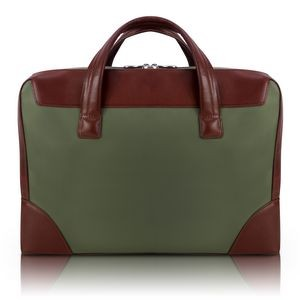 "HARPSWELL | 17"" Green Nylon Dual-Compartment Laptop Briefcase 