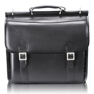 "HALSTED | 15"" Black Leather Double-Compartment Laptop Briefcase 