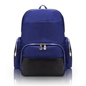 "CUMBERLAND | 17"" Navy Nylon Dual-Compartment Laptop Backpack 