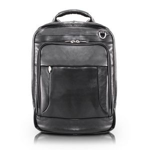 "LINCOLN PARK | 15"" Black Leather 3-Way Laptop Backpack Briefcase 