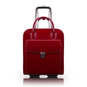 "UPTOWN | 15"" Red Leather Vertical Wheeled Laptop Case 
