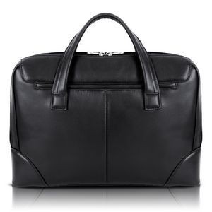 "HARPSWELL | 17"" Black Leather Dual-Compartment Laptop Briefcase 