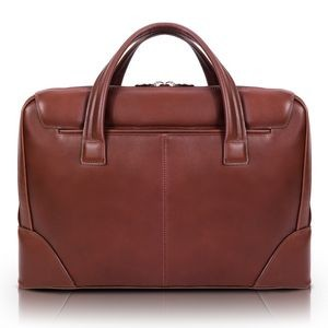 "HARPSWELL | 17"" Brown Leather Dual-Compartment Laptop Briefcase 