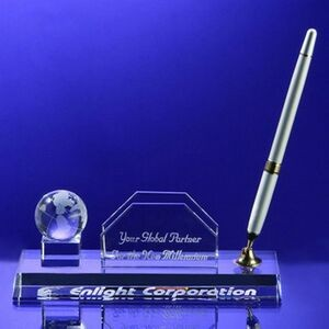 Awards-Business card holder with Globe Pen Set w/Silver Pen.2-3/4 inch high