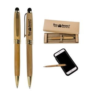 Bamboo Stylus Ballpoint Pen with Deluxe Recyclable Paper Box