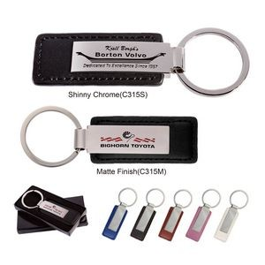 Leatherette with Rectangular Metal Key Tag