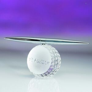 Awards-optical crystal golf spinning pen set.2-5/8 inch high