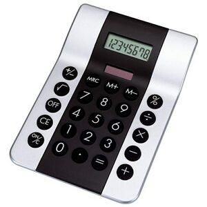 Black and Silver Dual Powered Solar Calculator