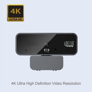 Adesso 4K Ultra HD USB Webcam with Built-in Dual Microphone