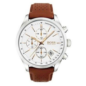 Hugo Boss Gentlemans Leather Grand Prix Watch w/White Dial