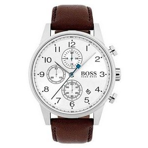 Hugo Boss Gentlemans Leather Navigator Watch w/Silver/White Dial