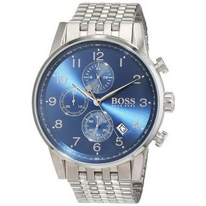 Hugo Boss Gentlemans Stainless Steel Navigator Watch w/Blue Dial