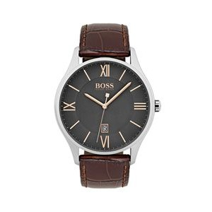 Hugo Boss Gentlemans Leather Governor Watch w/Gray Dial