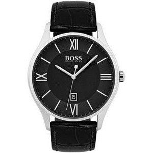 Hugo Boss Gentlemans Leather Governor Watch w/Black Dial